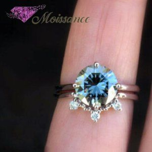 1.80 TCW Round Cut Blue Moissanite 925 Silver Ring